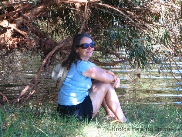 Nirbeeja relaxes beside the Gascoyne River, Carnarvon WA