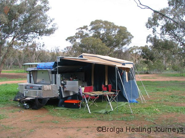 Our first bush campsite in our Adventure Camper Trailer, at Cocoparra National Park NSW.