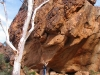 """Hurry up, this boulder's heavy!"".  Nirbeeja on Homestead Cree walk, Mutawintji Ntl Pk, NSW"