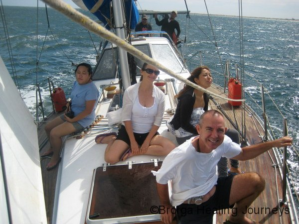 Day out on the ocean going yacht – all smiles before the dea sickness set in