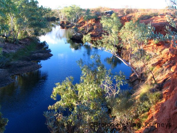 Waterhole at Coolbro Creek (our camper top centre)