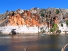 Geikie Gorge, with tour boat beneath cliff