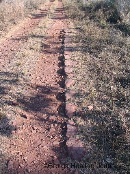 Old Gold Rush track to Halls Creek, hand paved
