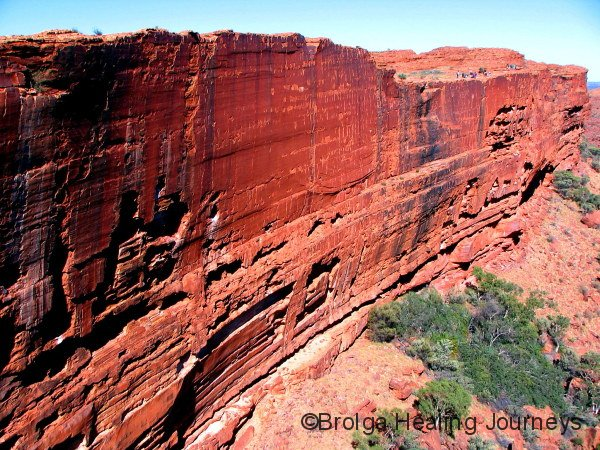 The sheer southern cliff of Kings Canyon.  People on top right