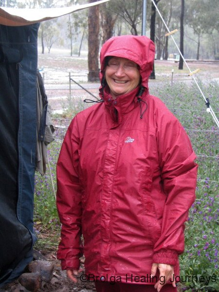 Nirbeeja, still smiling despite the drenching rain, Warrumbungle Ntl Pk