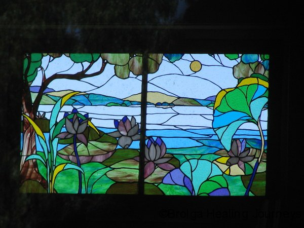 Stained glass by local artist Carina Turner, Quorn