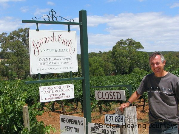 Trying hard to smile despite the disappointment! Greenock Creek vineyard, Barossa Valley.
