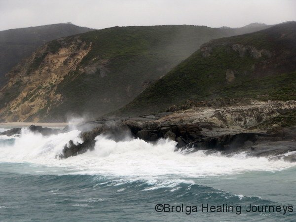 Enormous waves pound the coastline at Long Point, D'Entrecasteaux Ntl Pk