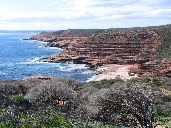 View north across Eagle Gorge towards township of Kalbarri