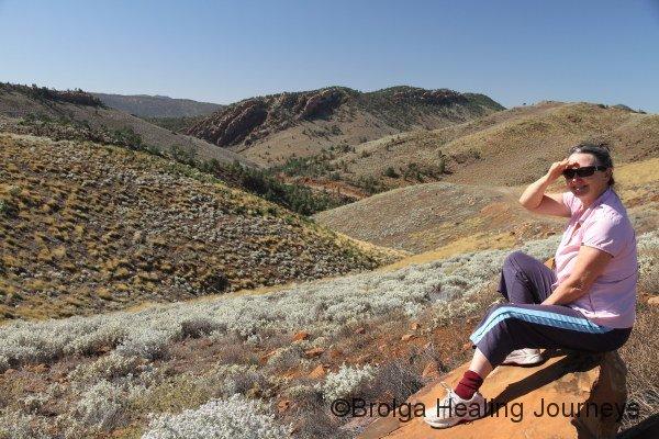 Nirbeeja enjoys the view towards Buckaringa Gorge from the sanctuary's hills