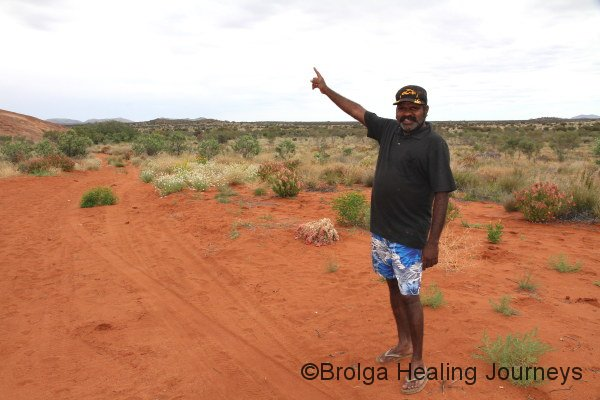 Traditional owner Jonathon points towards Cave Hill, which I couldn't photograph!