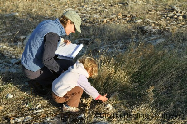 Gina Hayward supervises daughter Zoe in some field-work