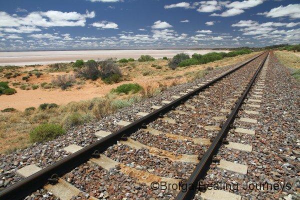 The Ghan railway track passes Lake Hart