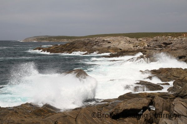 Huge waves crash ashore near Point Ellen