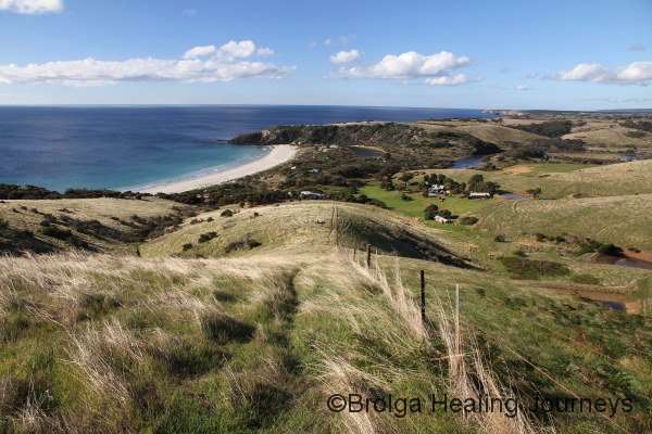 Snelling Beach viewed from the hills above, Kangaroo Island's northern coast