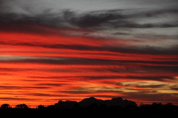 Sunset over Kata Tjuta later, with deeper colours