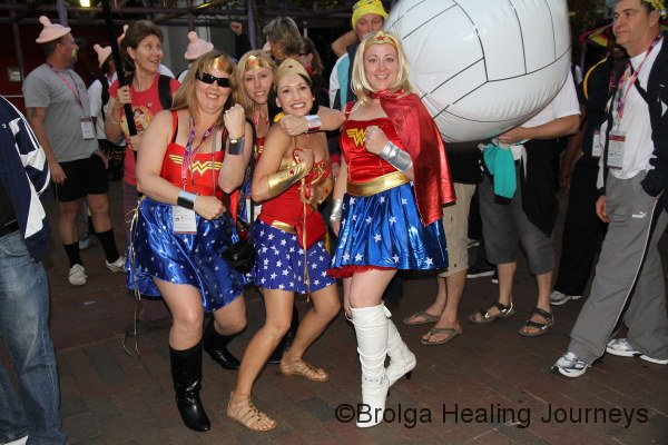 I always had a crush on Wonder Woman - but four at once! Actually, members of the Western Wonder Women volleyball team.