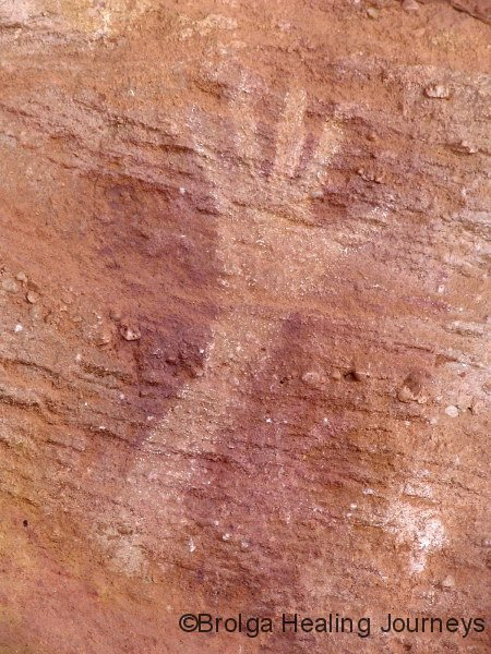 Hand stencil.  Mutawintjie National Park, NSW