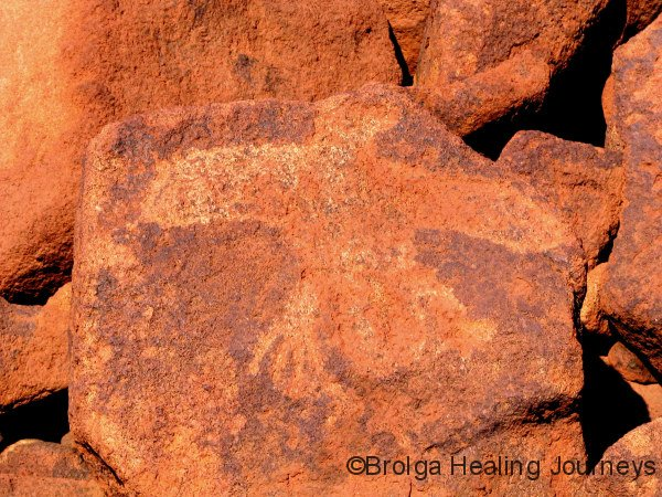 Petroglyph of large bird, Burrup Peninsula WA.  Body and wings chipped away.