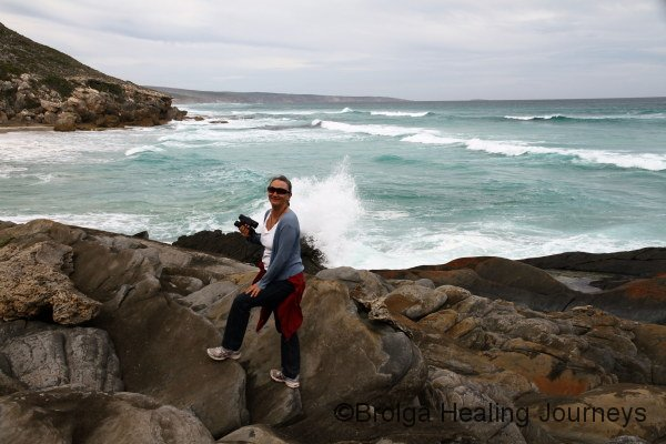 Nirbeeja enjoying the wild coastline of Maupertius Bay