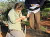 Hard at work!  Ecologist Felicity in charge of the pit-falling, Nirbeeja takes notes