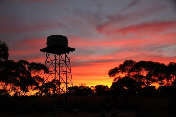 A Scotia sunset, seen beyond the watertower near the main building