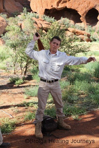Ranger Tim demonstrates spear throwing technique during Mala walk.  No spear was used in the interest of public safety!