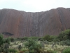 A few trickles and silvery patches on Uluru after drizzle