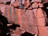 A magnificent large rock face of petroglyphs
