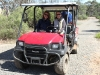 Nirbeeja and Lisa prepare for the fence patrol in the Mule.